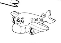 Happy and Fun Airplane Cartoon Coloring Page