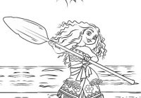 Princess Moana on a Voyage Coloring Page