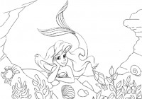 The Little Mermaid Under Sea Coloring Page