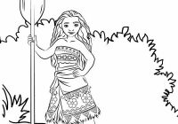 Young Heroine Moana Coloring Page
