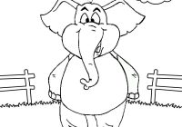 happy standing elephant in the cage cartoon coloring page
